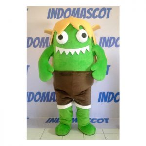 kostum badut maskot monster hijau
