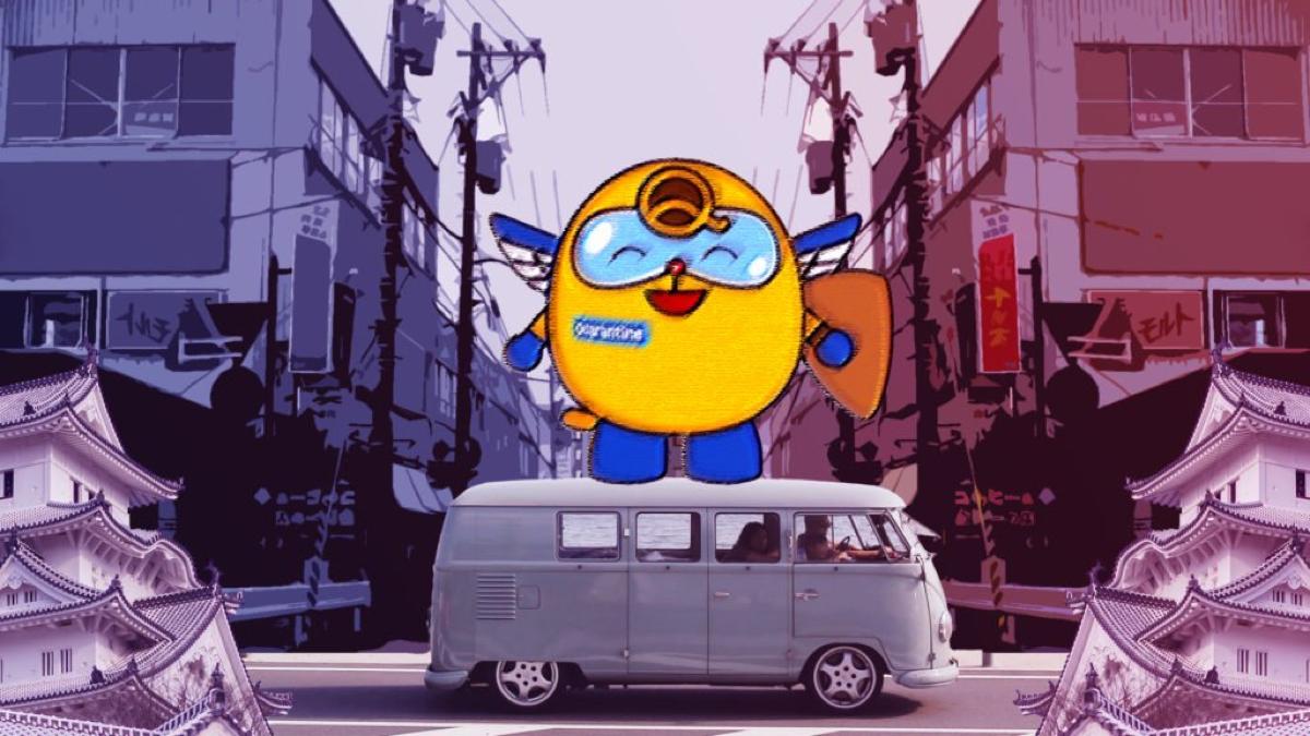 maskot quaran maskot karantina jepang di atas van