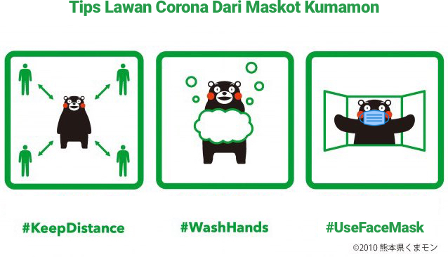 tips dari kumamon tentang physical distancing covid-19