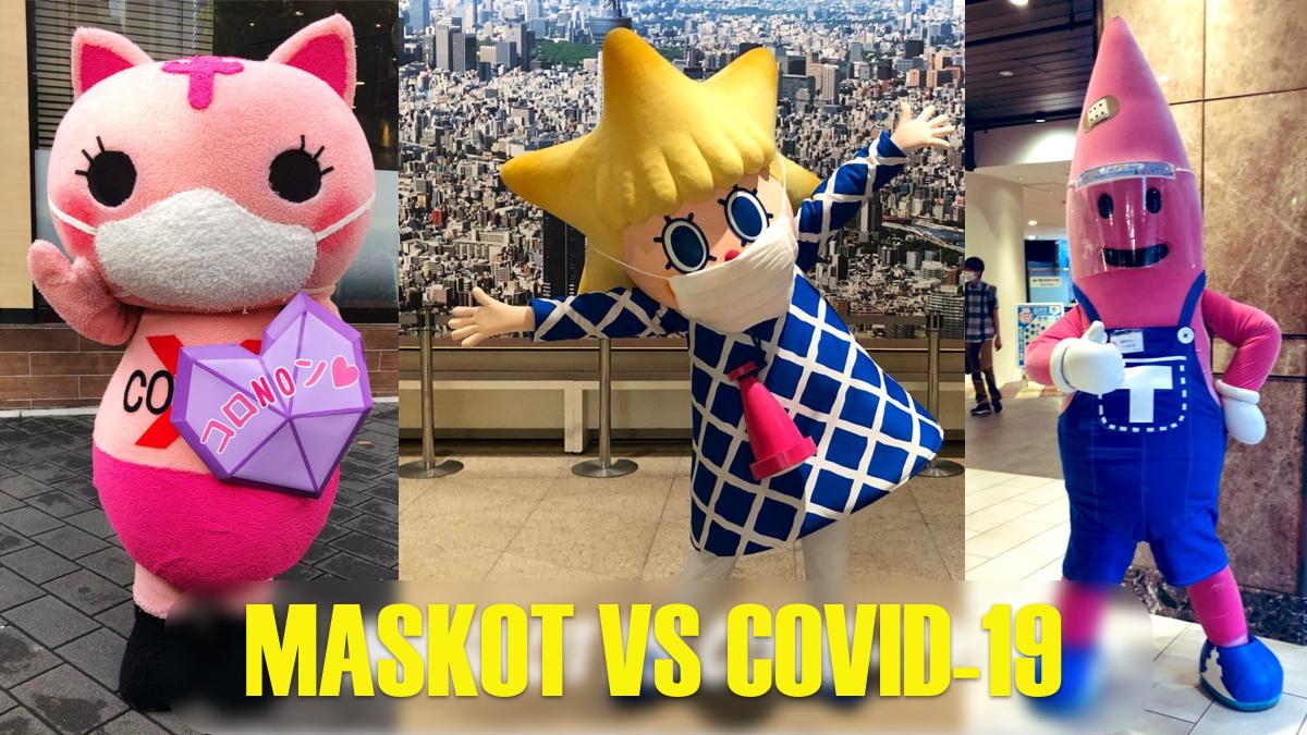 banner maskot vs covid-19